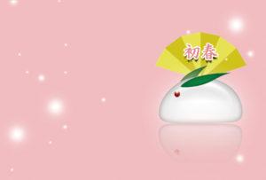 うさぎ,かわいい,初春,扇,雪
